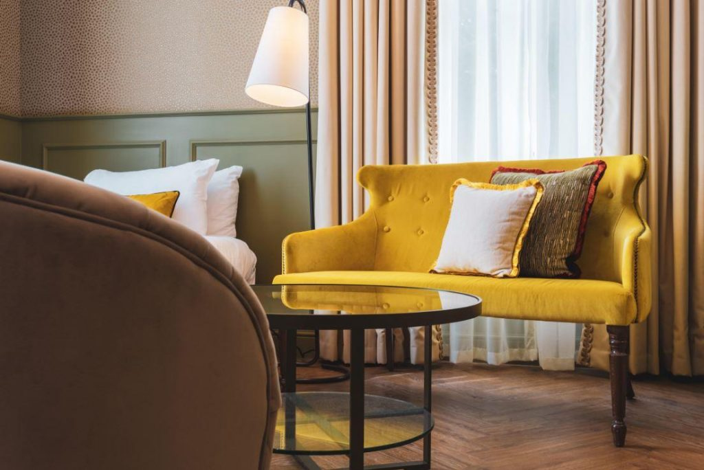 UK manufactured furniture for hotel - yellow sofa